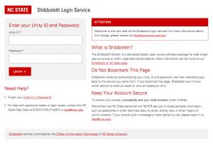 Screenshot of the Shibboleth login page