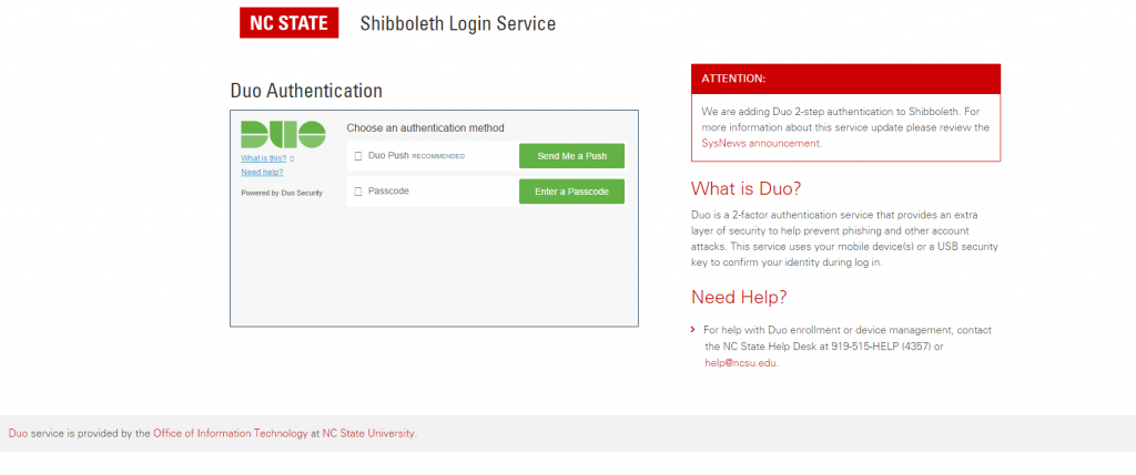 A shibboleth login screen that features Duo authentification.