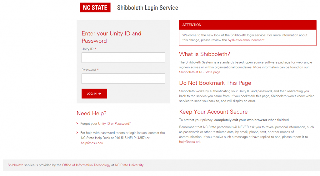 Shibboleth login page that has fields for Unity ID and Password.