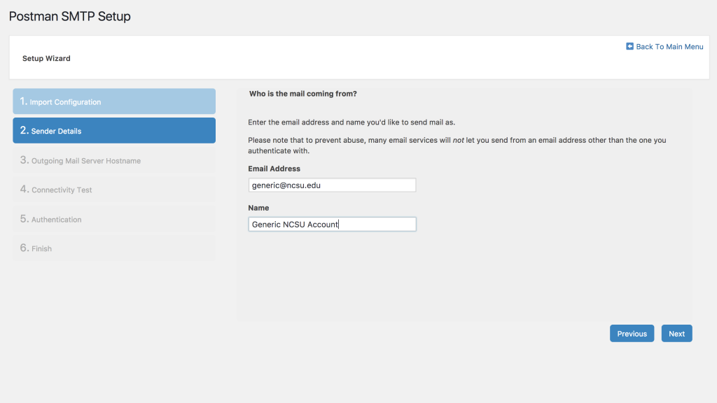 Postman Configuration Screen - Step 2 - Sender Details