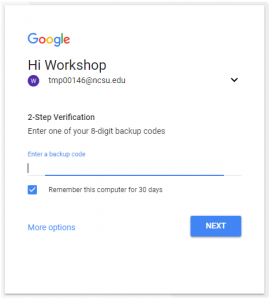 Google screen with entry form for entering an 8-digit backup code.