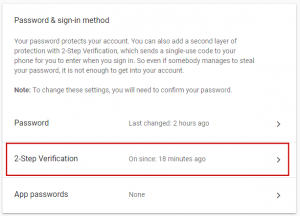 Google Accounts screenshot showing a Password & sign-in method screen, which lists options. The option to modify 2-Step Verification is framed in a red box.