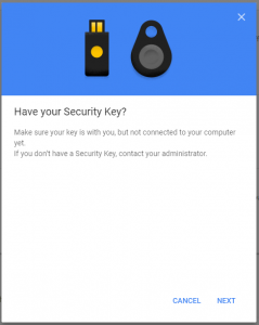Google Accounts screenshot asking the user if they have a Security Key, but making sure it is not connected yet.