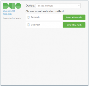 Duo screenshot asking the user to choose an authentication method between a passcode and a push to an attached device.