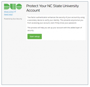 Duo screenshot explaining how to protect the user's NCSU account through setting up dual authentication.