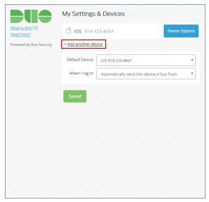 Duo screenshot showing the option to add another device, located after Device Options. The link is surrounded by a red box.