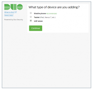 Duo screenshot showing a list of buttons the user can click to select the kind of the device they are adding, such as mobile phones, tables, or U2F tokens.