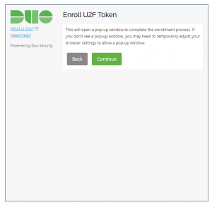 Duo screenshot describing the enrollment process and what to do if a required pop-up window does not appear.
