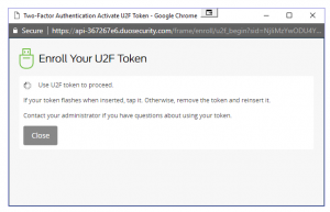 Duo screenshot of a popup window telling the user to use their U2F token to proceed.