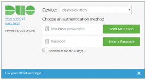 Duo screenshot showing the user a choice between push and passcode authentication methods.