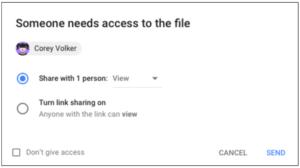 Screenshot from Google Access
