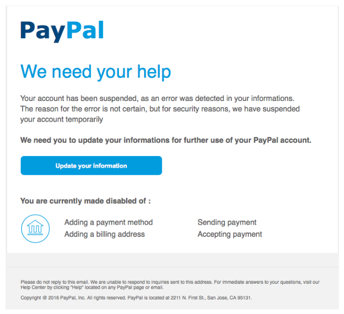An example of a phishing email disguised as a message from PayPal: the scammer asks for bank and payment information.