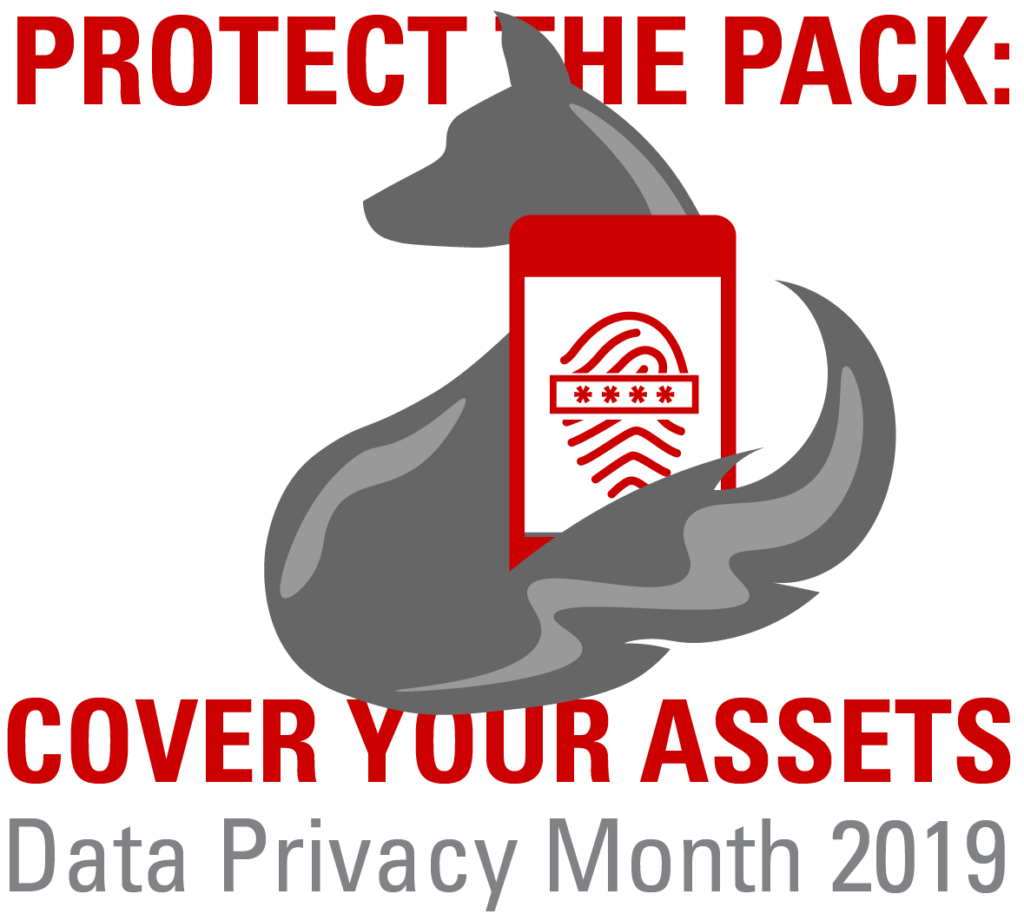 "Data Privacy Month 2019 logo, a stylized grey wolf with its tale curled around a phone depicting a fingerprint. Surrounding the wolf are the words ""protect the pack, cover your assets"""