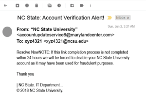Screenshot of phishing email