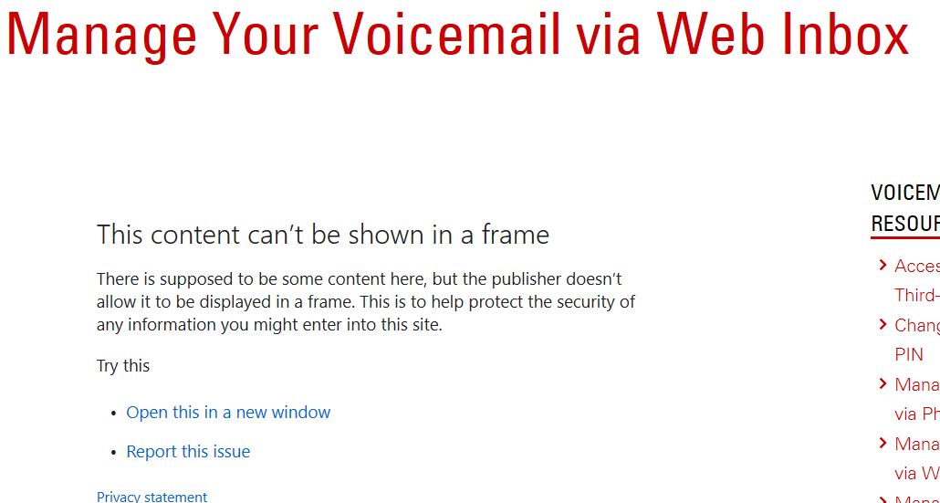 Screenshot of Manage Your Voicemail webpage