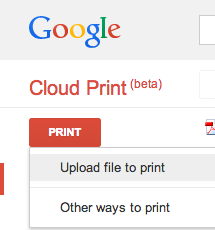 Print dropdown menu with