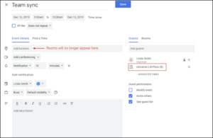 Location changes in Google Calendar Events