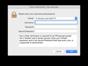 Screenshot of Cisco AnyConnect Login
