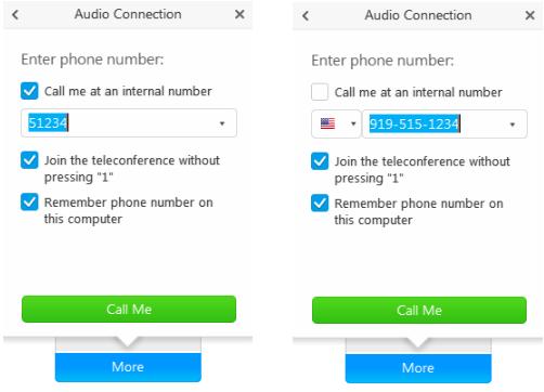 WebEx audio connection dialogue box