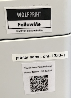 WolfPrint FollowMe label indicating the print queue and printer name.