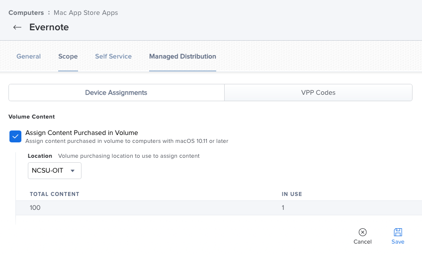 Picture showing Jamf Pro configuration for Device Licensed App Store Apps