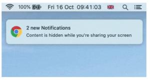 Google Meet mutes web notification content