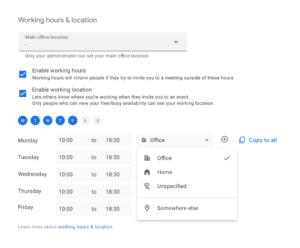 Google Calendar Work Hours and Location